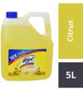 Lizol Disinfectant Surface Cleaner-Citrus : 5 Litres